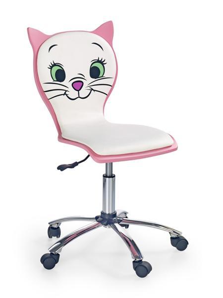 Kitty II. gyermek forgószék króm, fehér-pink
