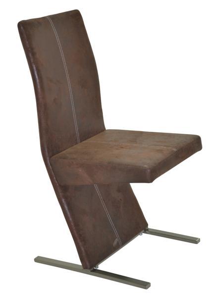 MF-5304 fémvázas kárpitozott szék króm, antik barna textilbőr