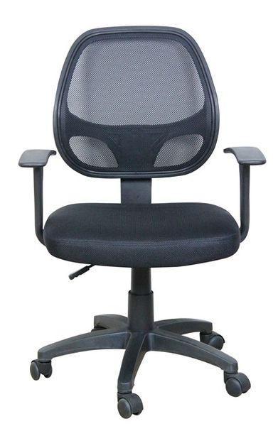 OF-0219 karfás irodai forgószék, fekete hálós támla és ülés, fekete műanyag láb