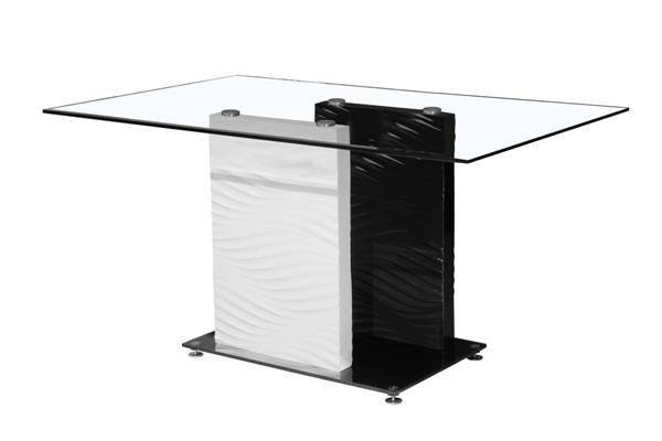 MF-5031 asztal fekete-fehér, füst színű üveg 90x150 cm