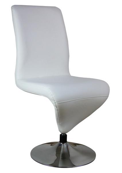 MF-5578 fémvázas forgós szék króm, fehér textilbőr