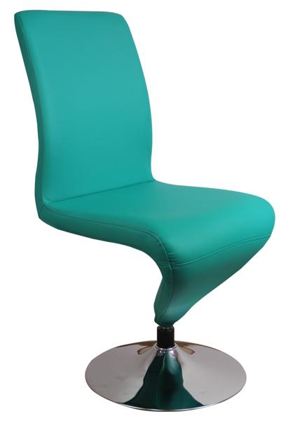 MF-6476 fémvázas forgós szék króm, smaragd zöld textilbőr