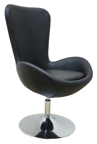 MF-6767 design coctail fotel króm, fekete textilbőr