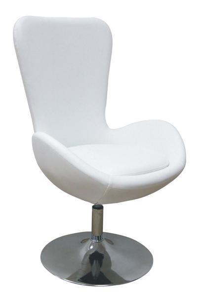 MF-6768 design coctail fotel króm, fehér textilbőr