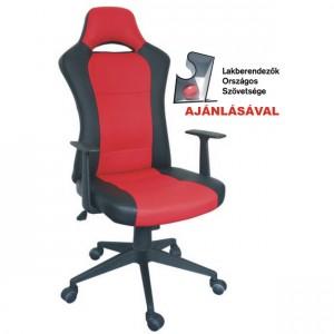 OF-0373 karfás forgószék,piros-fekete textilbőr