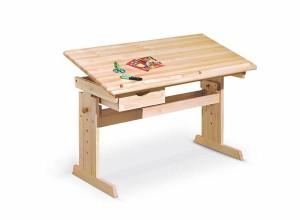 Julia gyerek íróasztal, állítható, lakkozott fenyő