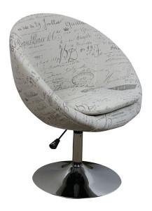 MF-7281 coctail fotel króm, vil. szürke írásos zsákszövet